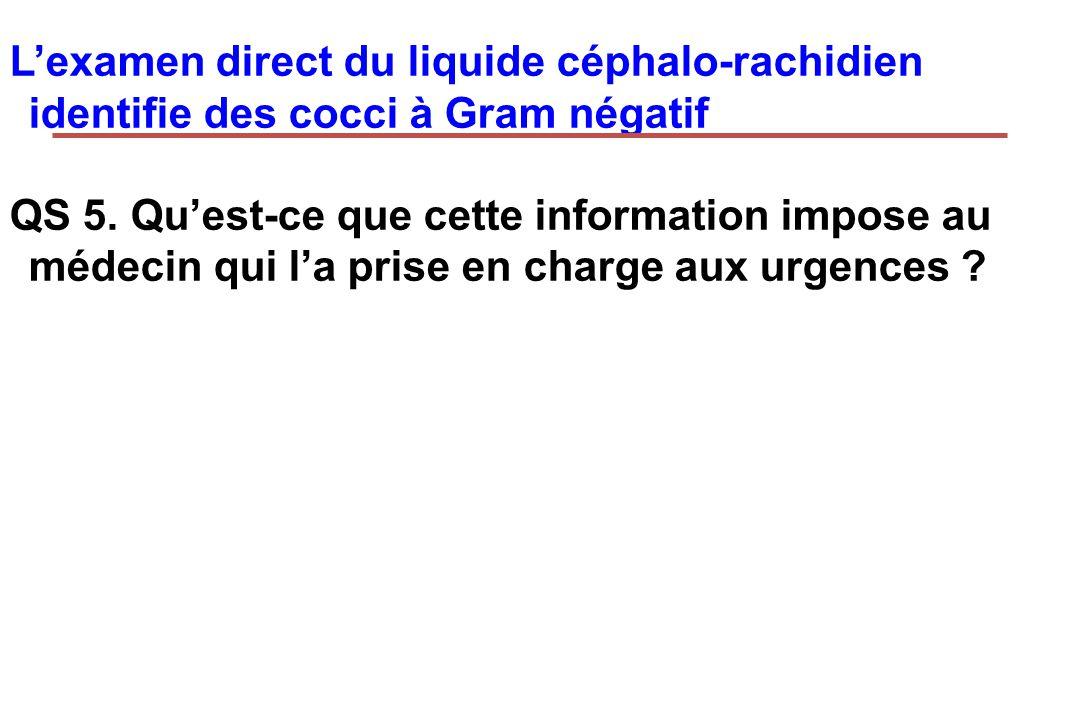 Lexamen direct du liquide céphalo-rachidien identifie des cocci à Gram négatif QS 5. Quest-ce que cette information impose au médecin qui la prise en