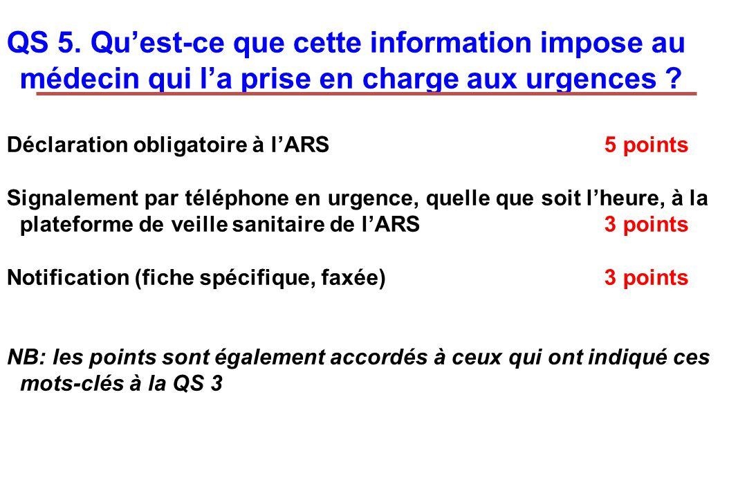 Déclaration obligatoire à lARS5 points Signalement par téléphone en urgence, quelle que soit lheure, à la plateforme de veille sanitaire de lARS 3 poi