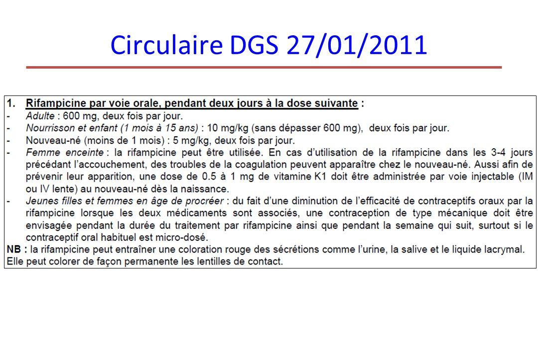 Circulaire DGS 27/01/2011