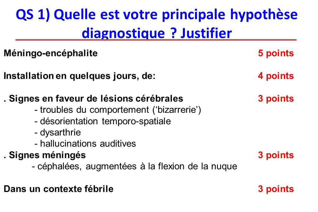 QS 1) Quelle est votre principale hypothèse diagnostique ? Justifier Méningo-encéphalite5 points Installation en quelques jours, de:4 points. Signes e