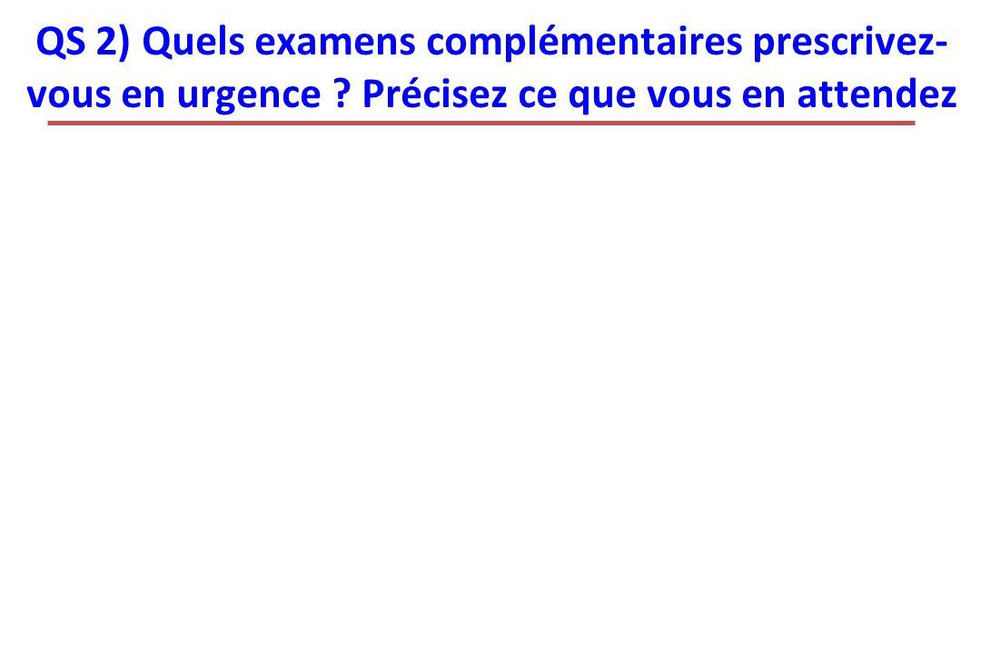 QS 2) Quels examens complémentaires prescrivez- vous en urgence ? Précisez ce que vous en attendez
