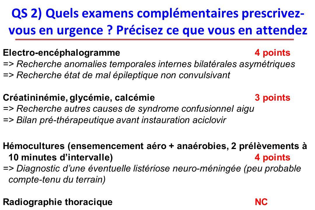 QS 2) Quels examens complémentaires prescrivez- vous en urgence ? Précisez ce que vous en attendez Electro-encéphalogramme4 points => Recherche anomal