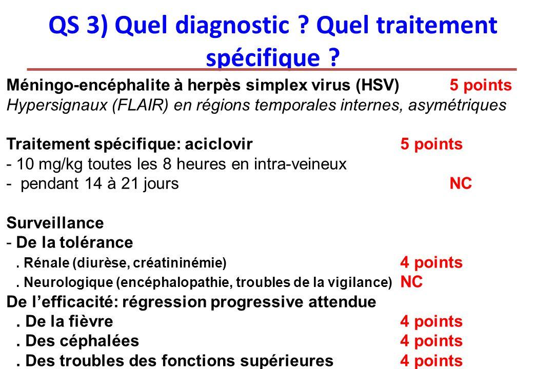 QS 3) Quel diagnostic ? Quel traitement spécifique ? Méningo-encéphalite à herpès simplex virus (HSV)5 points Hypersignaux (FLAIR) en régions temporal