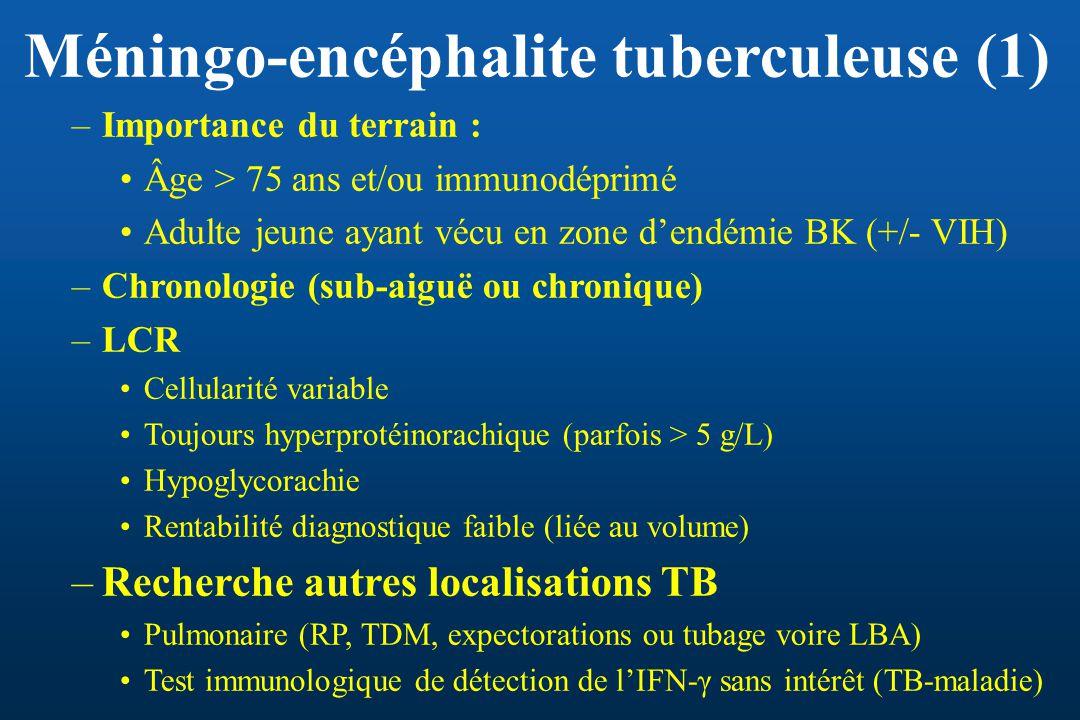 Méningo-encéphalite tuberculeuse (1) –Importance du terrain : Âge > 75 ans et/ou immunodéprimé Adulte jeune ayant vécu en zone dendémie BK (+/- VIH) –