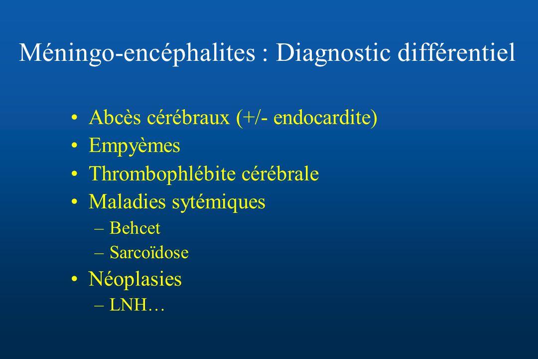 Méningo-encéphalites : Diagnostic différentiel Abcès cérébraux (+/- endocardite) Empyèmes Thrombophlébite cérébrale Maladies sytémiques –Behcet –Sarco