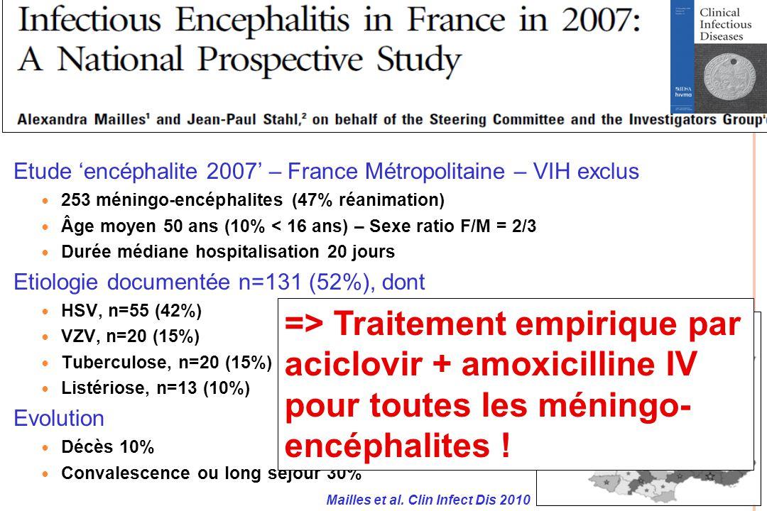 Etude encéphalite 2007 – France Métropolitaine – VIH exclus 253 méningo-encéphalites (47% réanimation) Âge moyen 50 ans (10% < 16 ans) – Sexe ratio F/