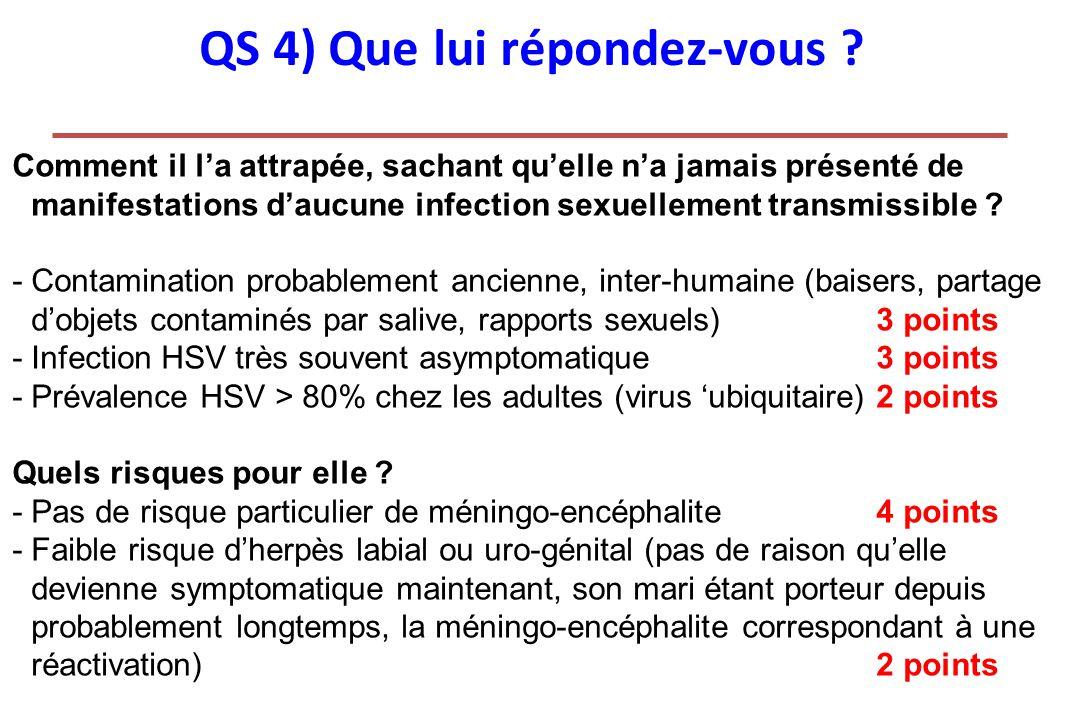 QS 4) Que lui répondez-vous ? Comment il la attrapée, sachant quelle na jamais présenté de manifestations daucune infection sexuellement transmissible