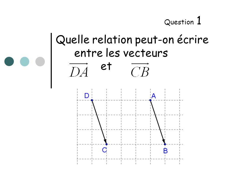 Quelle relation peut-on écrire entre les vecteurs et Question 2