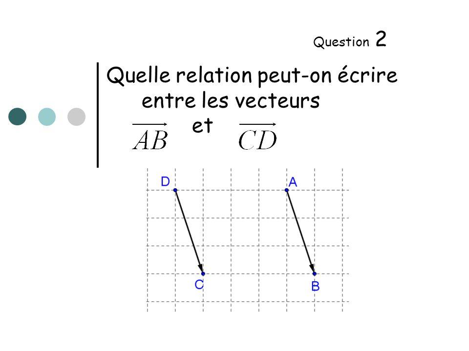 Quelle relation peut-on écrire entre les vecteurs et Question 3