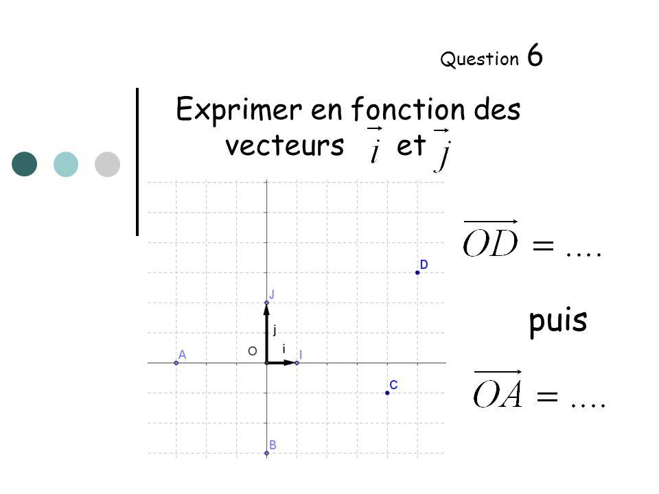 Exprimer en fonction des vecteurs et Question 7 puis