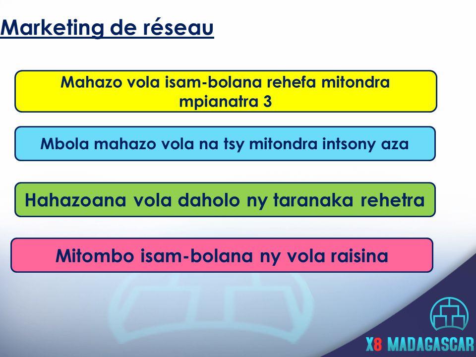 Marketing de réseau Mbola mahazo vola na tsy mitondra intsony aza Hahazoana vola daholo ny taranaka rehetra Mitombo isam-bolana ny vola raisina Mahazo vola isam-bolana rehefa mitondra mpianatra 3