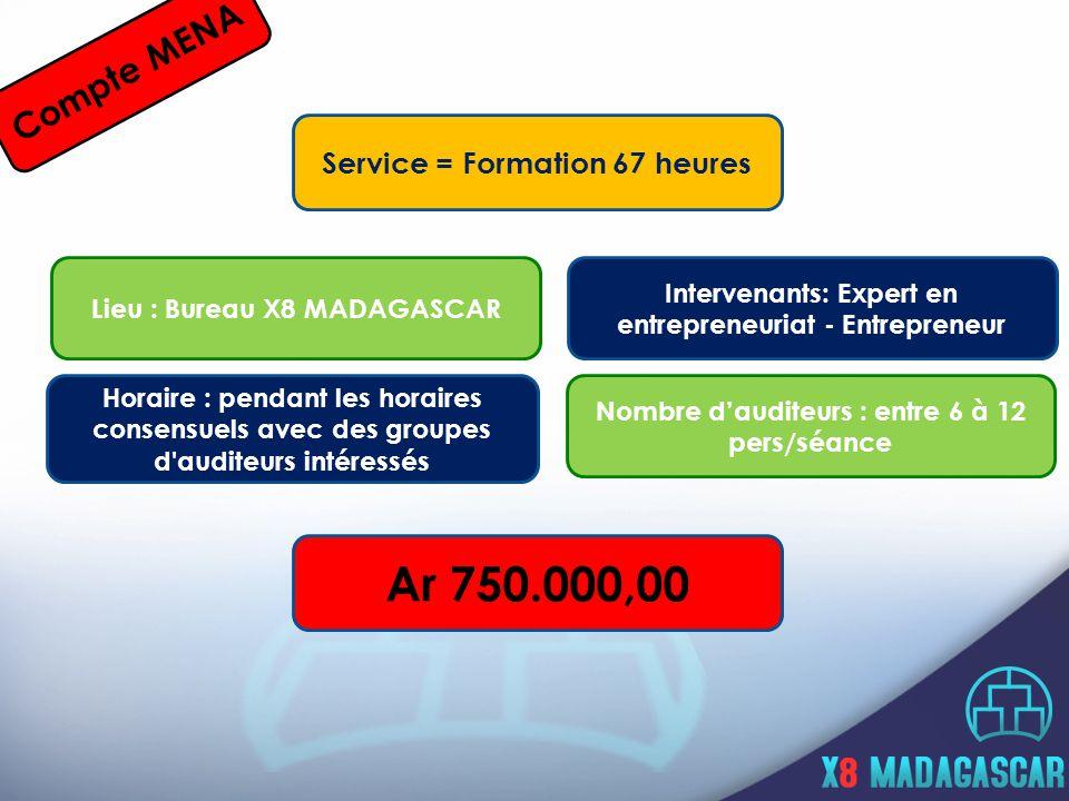 Compte MENA Service = Formation 67 heures Horaire : pendant les horaires consensuels avec des groupes d auditeurs intéressés Lieu : Bureau X8 MADAGASCAR Intervenants: Expert en entrepreneuriat - Entrepreneur Nombre dauditeurs : entre 6 à 12 pers/séance Ar 750.000,00