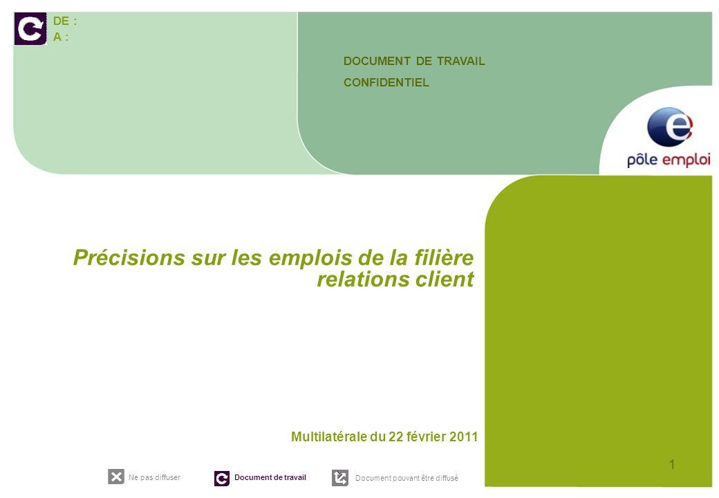 DE : A : Ne pas diffuser Document de travail Document pouvant être diffusé 1 Multilatérale du 22 février 2011 Précisions sur les emplois de la filière relations client DOCUMENT DE TRAVAIL CONFIDENTIEL