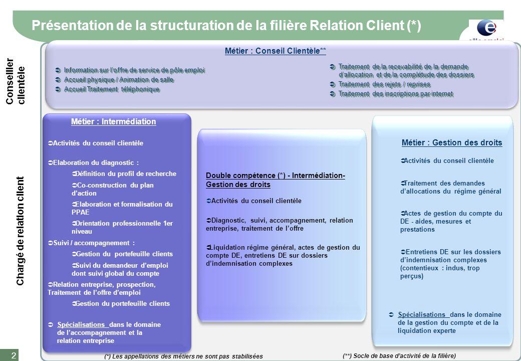 Document de travail 2 Présentation de la structuration de la filière Relation Client (*) Traitement de la recevabilité de la demande dallocation et de