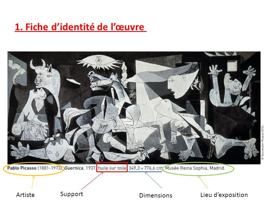 1. Fiche didentité de lœuvre Artiste Support Dimensions Lieu dexposition