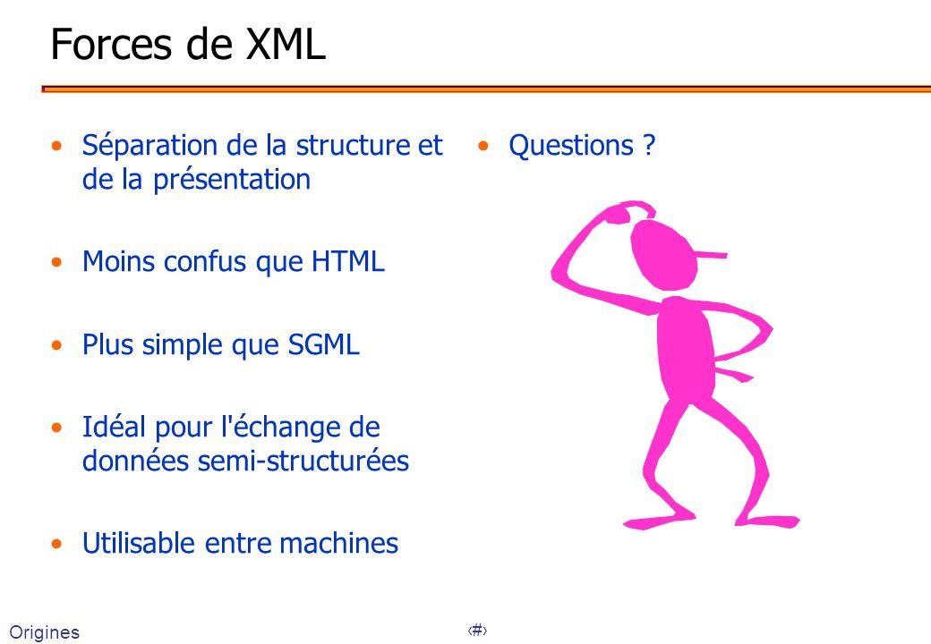 11 Origines Forces de XML Séparation de la structure et de la présentation Moins confus que HTML Plus simple que SGML Idéal pour l échange de données semi-structurées Utilisable entre machines Questions ?
