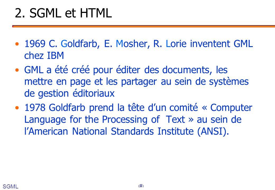 12 2. SGML et HTML 1969 C. Goldfarb, E. Mosher, R. Lorie inventent GML chez IBM GML a été créé pour éditer des documents, les mettre en page et les pa