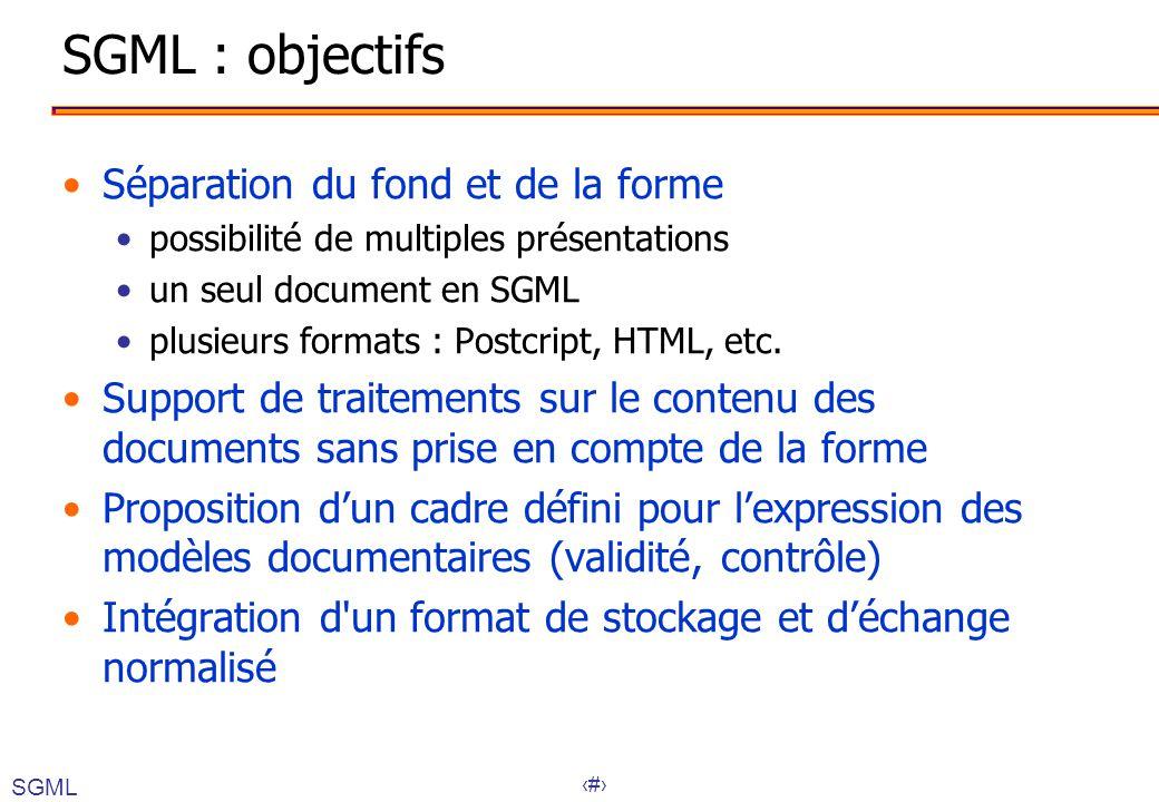14 SGML : objectifs Séparation du fond et de la forme possibilité de multiples présentations un seul document en SGML plusieurs formats : Postcript, HTML, etc.