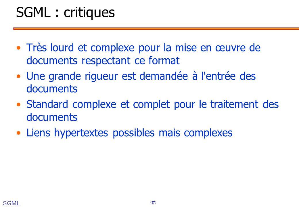 15 SGML : critiques Très lourd et complexe pour la mise en œuvre de documents respectant ce format Une grande rigueur est demandée à l'entrée des docu