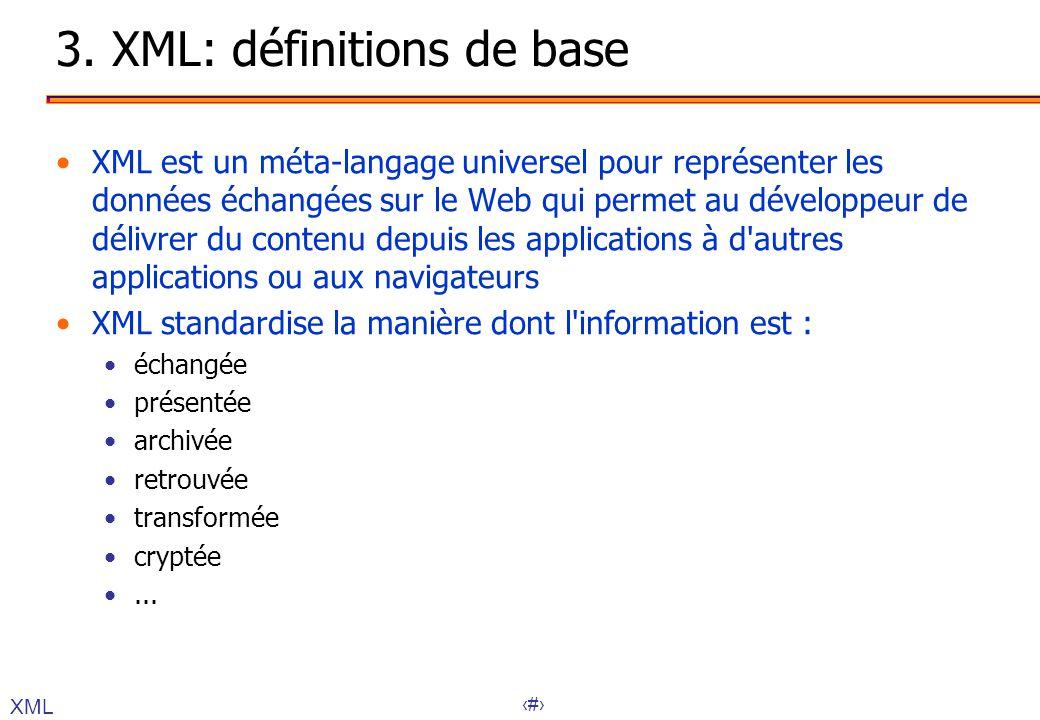 21 3. XML: définitions de base XML est un méta-langage universel pour représenter les données échangées sur le Web qui permet au développeur de délivr