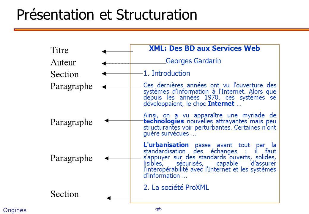 3 Présentation et Structuration XML: Des BD aux Services Web Georges Gardarin 1.