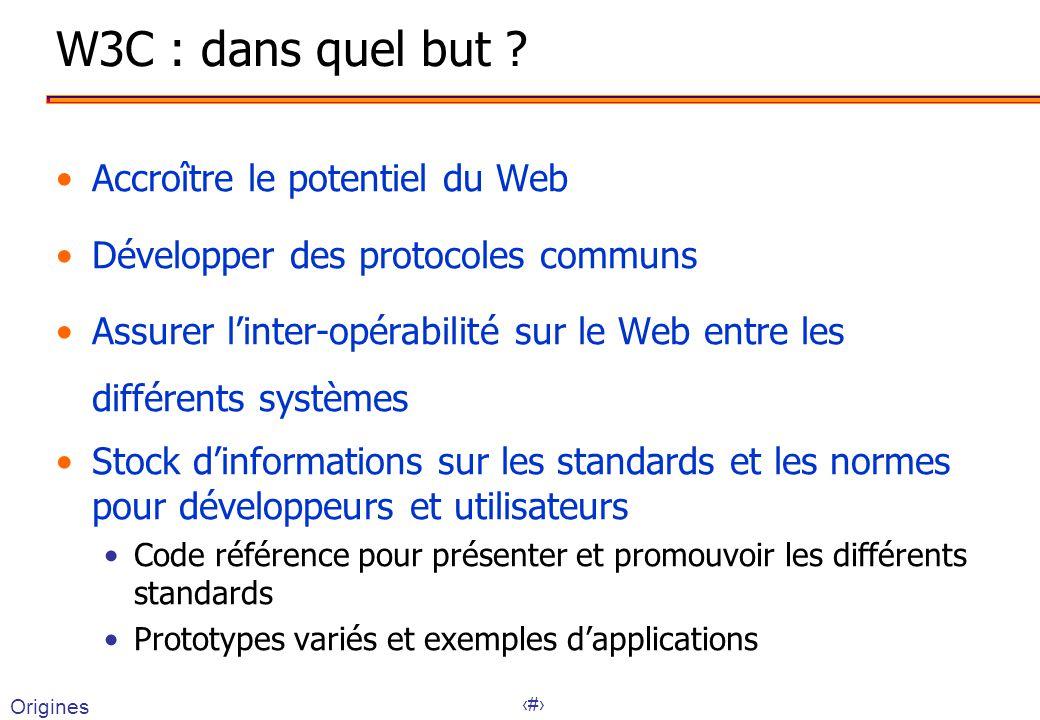 6 W3C : dans quel but ? Accroître le potentiel du Web Développer des protocoles communs Assurer linter-opérabilité sur le Web entre les différents sys