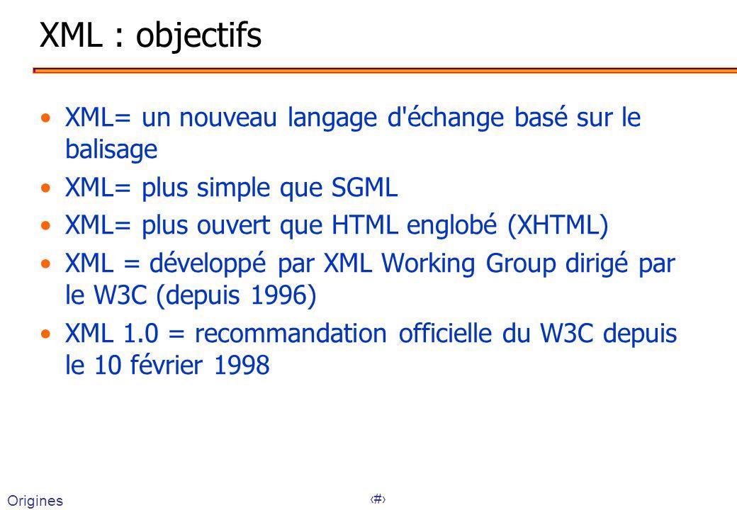 8 XML : objectifs XML= un nouveau langage d échange basé sur le balisage XML= plus simple que SGML XML= plus ouvert que HTML englobé (XHTML) XML = développé par XML Working Group dirigé par le W3C (depuis 1996) XML 1.0 = recommandation officielle du W3C depuis le 10 février 1998 Origines