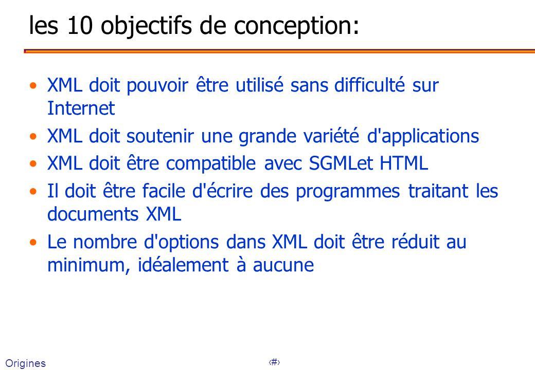 9 les 10 objectifs de conception: XML doit pouvoir être utilisé sans difficulté sur Internet XML doit soutenir une grande variété d applications XML doit être compatible avec SGMLet HTML Il doit être facile d écrire des programmes traitant les documents XML Le nombre d options dans XML doit être réduit au minimum, idéalement à aucune Origines
