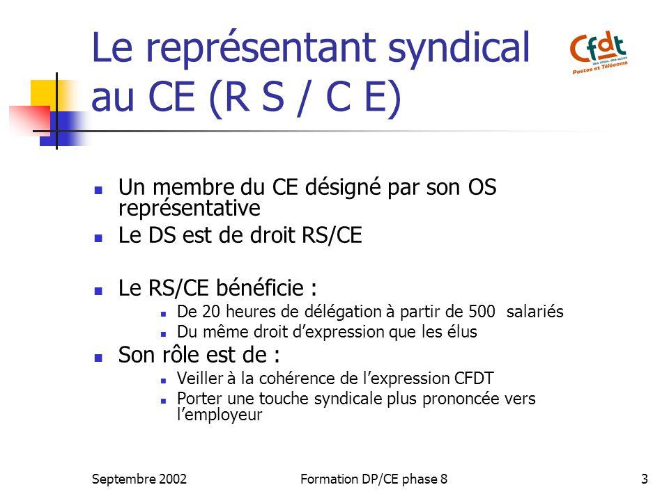 Septembre 2002Formation DP/CE phase 83 Le représentant syndical au CE (R S / C E) Un membre du CE désigné par son OS représentative Le DS est de droit RS/CE Le RS/CE bénéficie : De 20 heures de délégation à partir de 500 salariés Du même droit dexpression que les élus Son rôle est de : Veiller à la cohérence de lexpression CFDT Porter une touche syndicale plus prononcée vers lemployeur