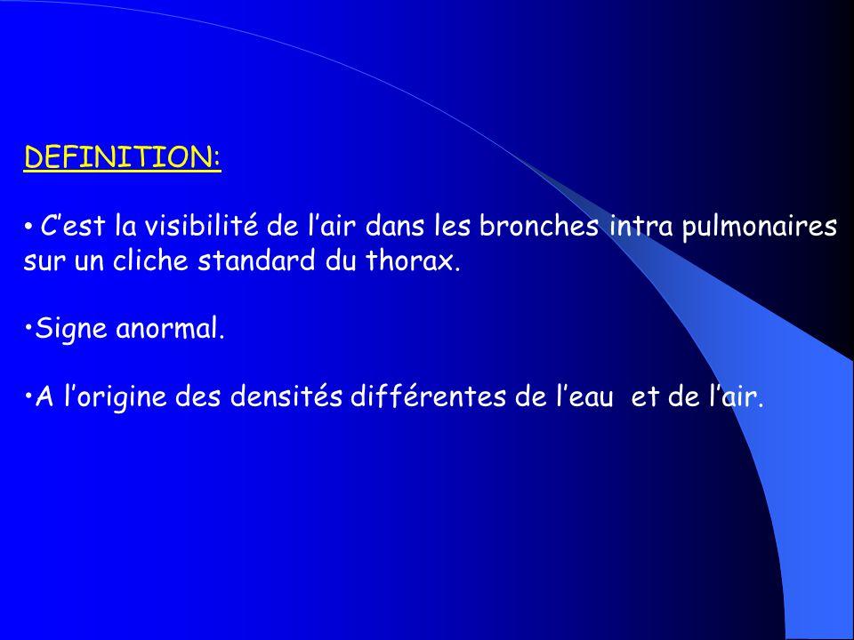 BRONCHES : Parois minces Entourées par lair Contiennent de lair CLICHE STANDARS DU THORAX : Les bronches ne sont pas visibles.