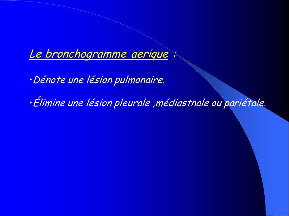 Le bronchogramme aerique : Dénote une lésion pulmonaire. Élimine une lésion pleurale,médiastnale ou pariétale.