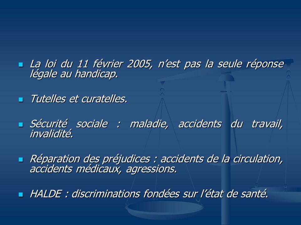 La loi du 11 février 2005, nest pas la seule réponse légale au handicap.