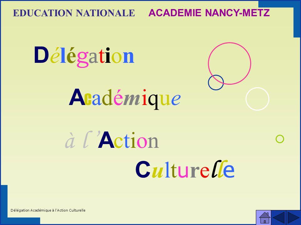 DélégationDélégation Académique Académique à l A ction C ult u re ll e ACADEMIE NANCY-METZEDUCATION NATIONALE Délégation Académique à lAction Culturelle