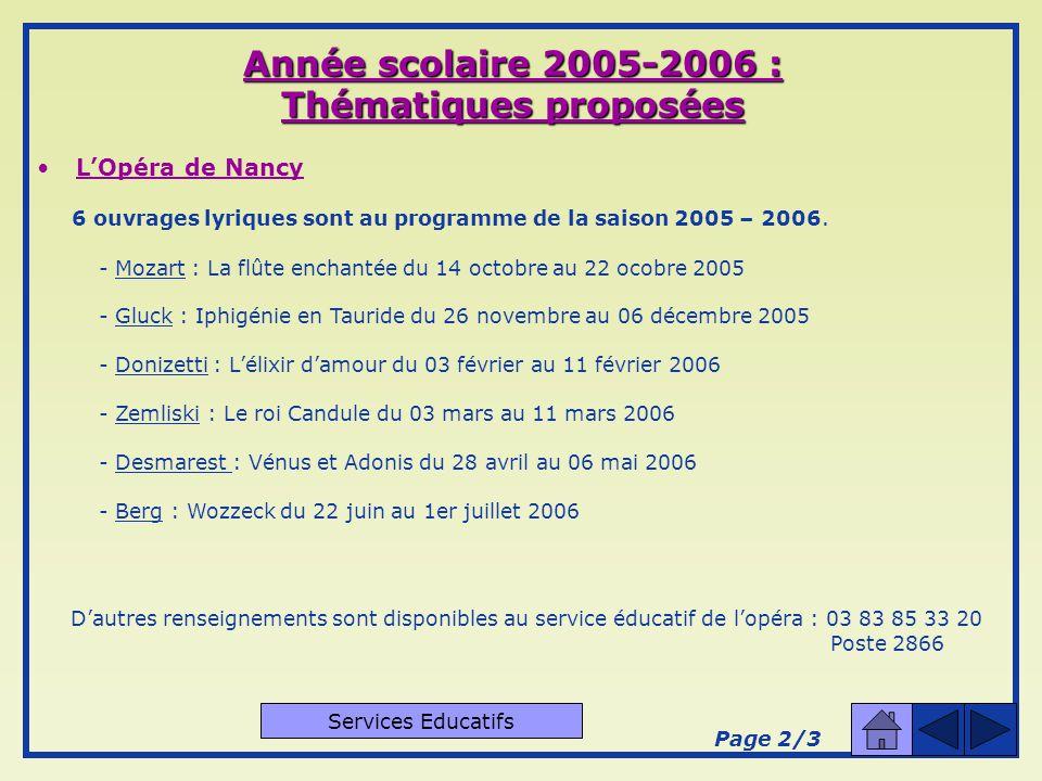 Année scolaire 2005-2006 : Thématiques proposées LOpéra de Nancy L Opéra de Nancy et de Lorraine propose à divers groupes, structures d enseignement, associations..., de partir à la découverte de l art lyrique.