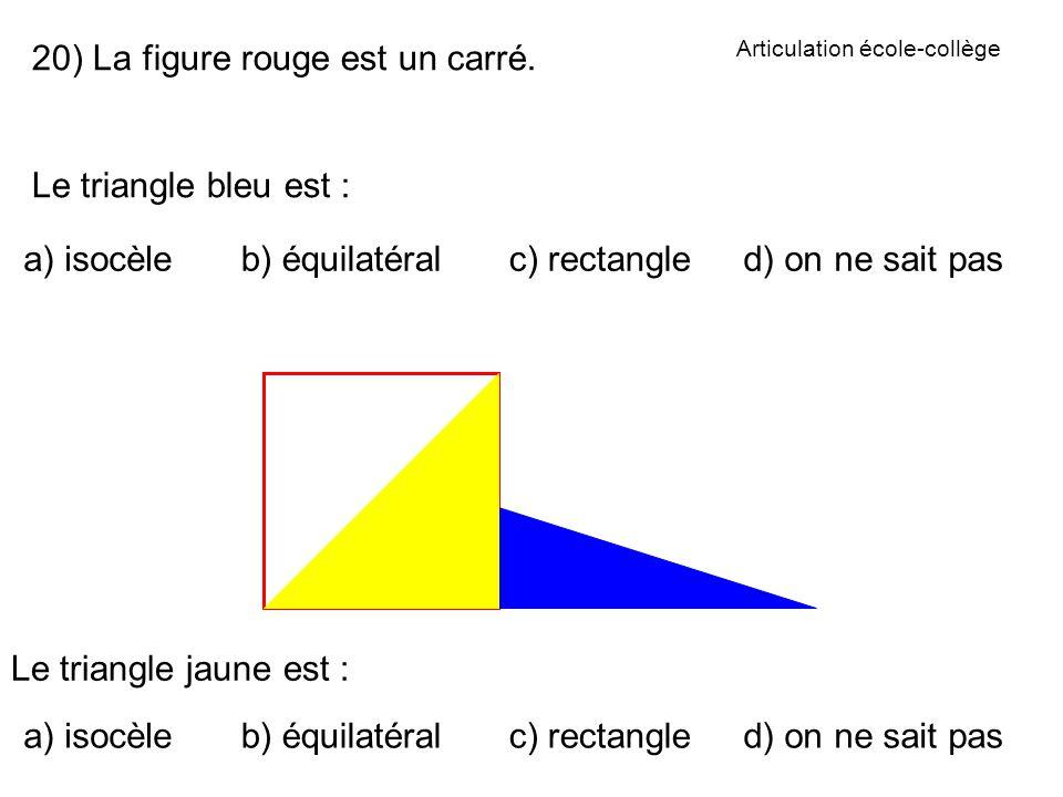 Articulation école-collège 20) La figure rouge est un carré.