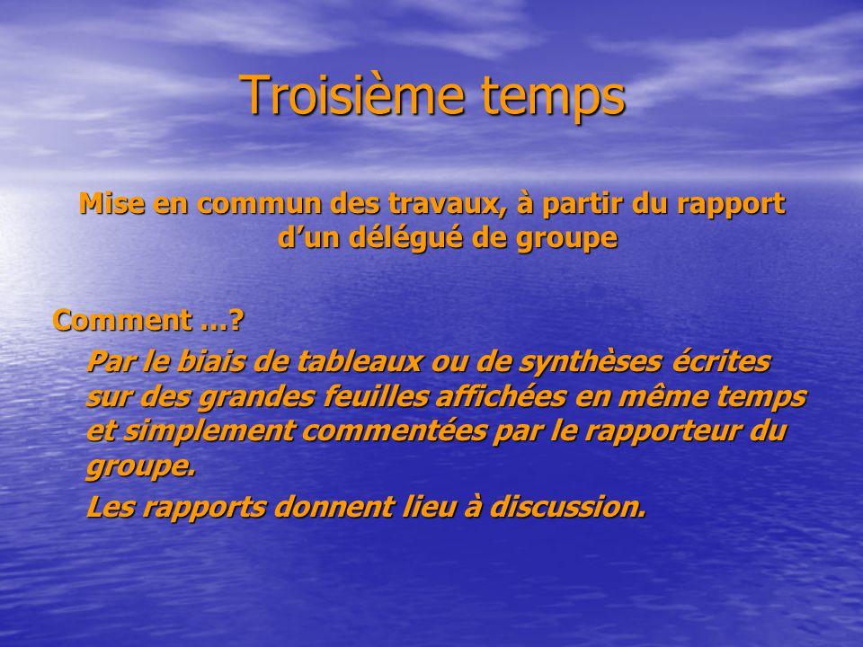 Troisième temps Mise en commun des travaux, à partir du rapport dun délégué de groupe Comment ….
