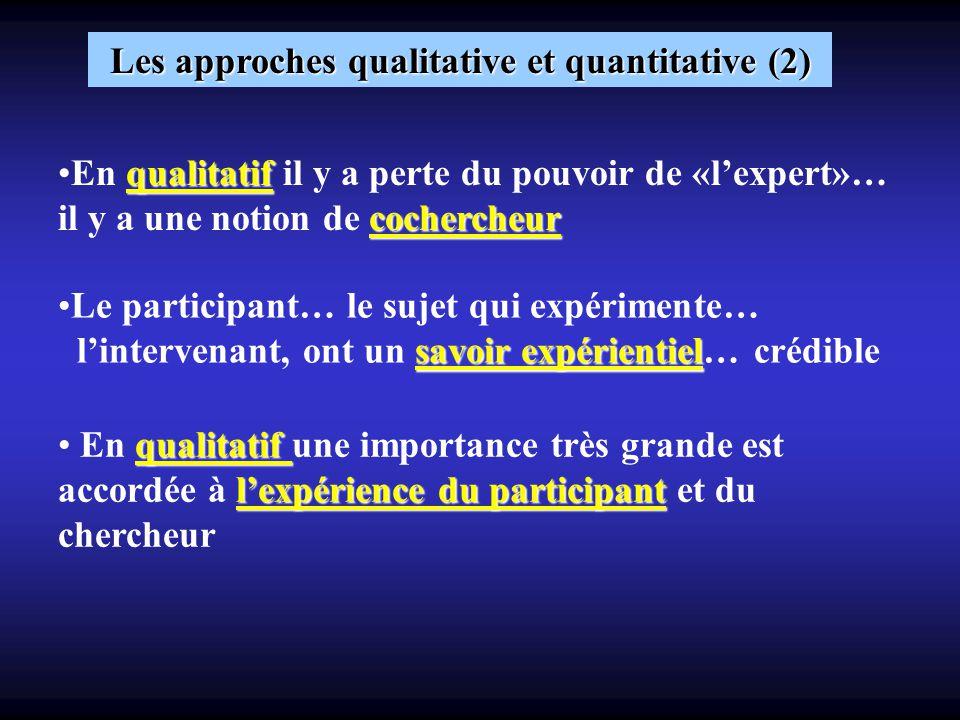 Les approches qualitative et quantitative (2) qualitatif cochercheurEn qualitatif il y a perte du pouvoir de «lexpert»… il y a une notion de cochercheur savoir expérientielLe participant… le sujet qui expérimente… lintervenant, ont un savoir expérientiel… crédible qualitatif lexpérience du participant En qualitatif une importance très grande est accordée à lexpérience du participant et du chercheur