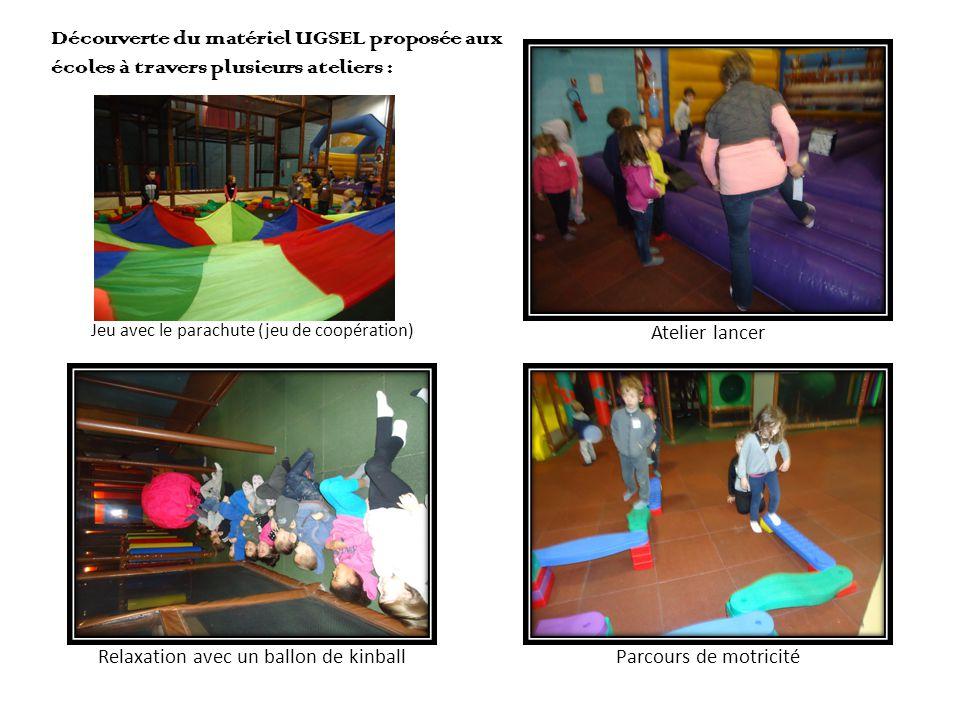 Jeu avec le parachute (jeu de coopération) Découverte du matériel UGSEL proposée aux écoles à travers plusieurs ateliers :