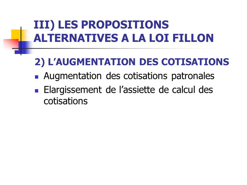 III) LES PROPOSITIONS ALTERNATIVES A LA LOI FILLON 2) LAUGMENTATION DES COTISATIONS Augmentation des cotisations patronales Elargissement de lassiette de calcul des cotisations