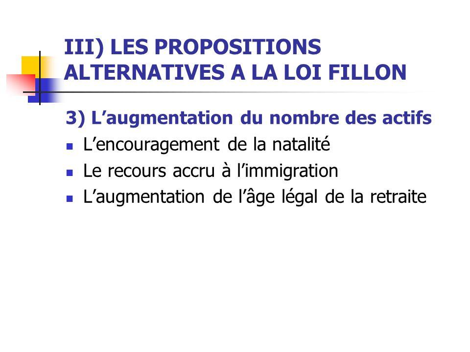 III) LES PROPOSITIONS ALTERNATIVES A LA LOI FILLON 3) Laugmentation du nombre des actifs Lencouragement de la natalité Le recours accru à limmigration Laugmentation de lâge légal de la retraite