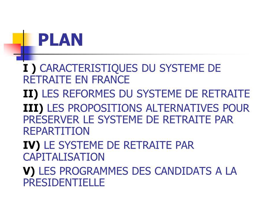 PLAN I ) CARACTERISTIQUES DU SYSTEME DE RETRAITE EN FRANCE II) LES REFORMES DU SYSTEME DE RETRAITE III) LES PROPOSITIONS ALTERNATIVES POUR PRESERVER LE SYSTEME DE RETRAITE PAR REPARTITION IV) LE SYSTEME DE RETRAITE PAR CAPITALISATION V) LES PROGRAMMES DES CANDIDATS A LA PRESIDENTIELLE