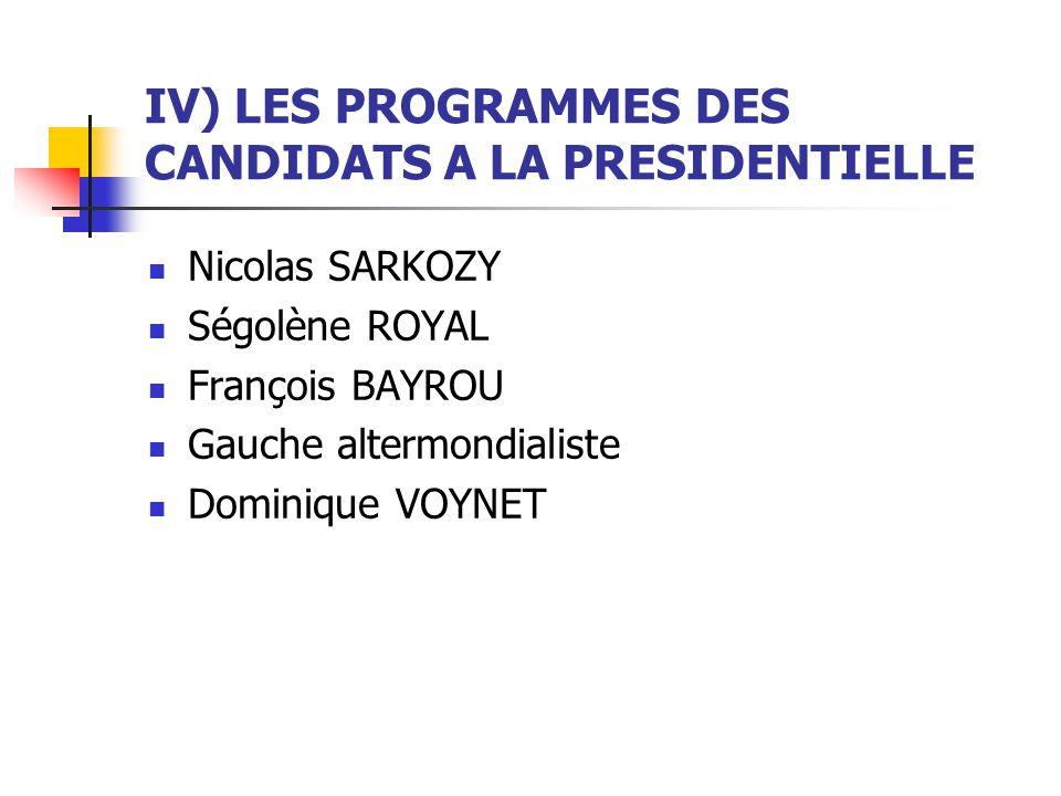 IV) LES PROGRAMMES DES CANDIDATS A LA PRESIDENTIELLE Nicolas SARKOZY Ségolène ROYAL François BAYROU Gauche altermondialiste Dominique VOYNET