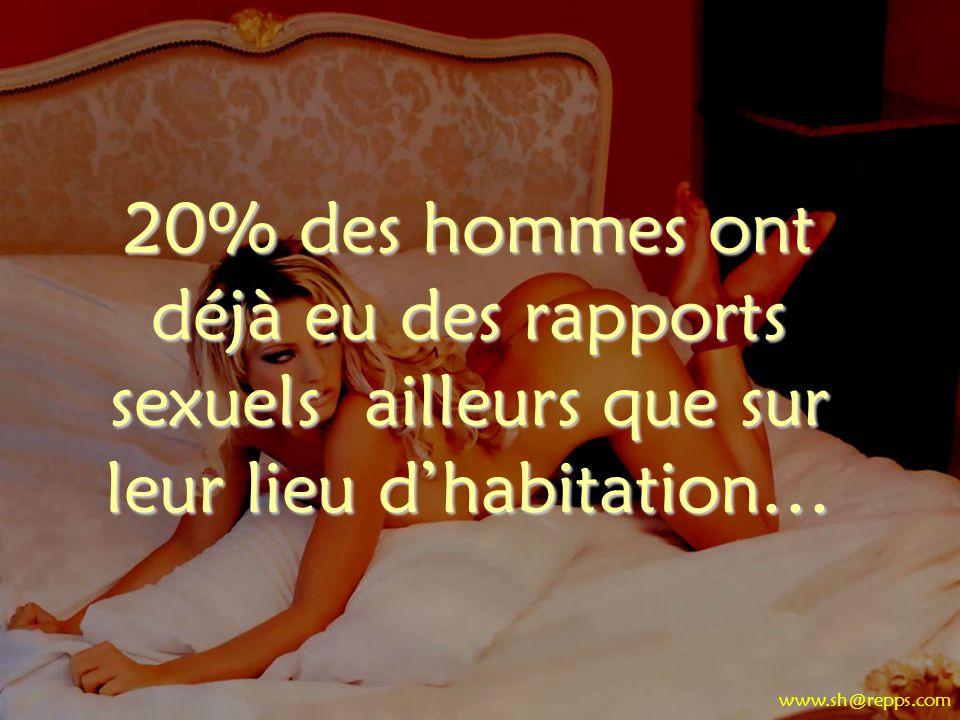 20% des hommes ont déjà eu des rapports sexuels ailleurs que sur leur lieu dhabitation… www.sh@repps.com