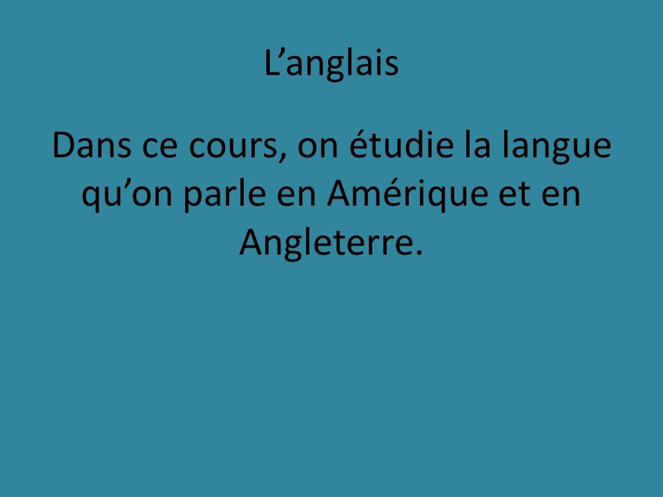 Langlais Dans ce cours, on étudie la langue quon parle en Amérique et en Angleterre.