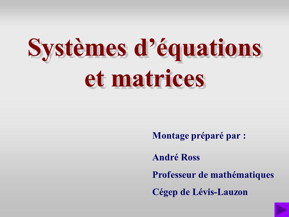 Exercice 1 Résoudre le système déquations ci-contre à laide dune matrice augmentée : x + 2y = –6 ( 1 ) 2x – 3y = 16 ( 2 ) Il reste autant déquations que dinconnues et la deuxième ligne donne y = –4 et, en substituant dans la première, on obtient : 12–6 2–316 L1L1 L 2 – 2L 1 Cliquer pour la solution.