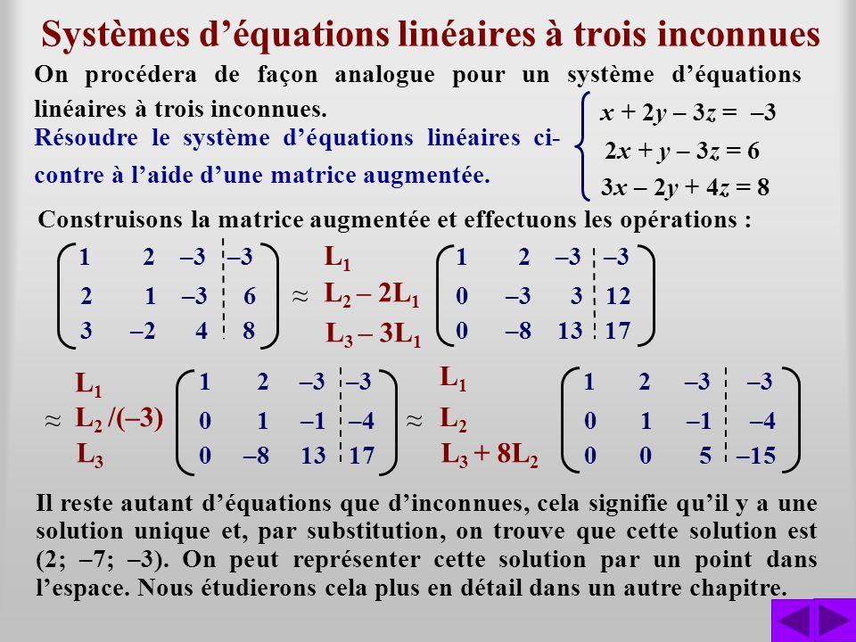 Systèmes déquations linéaires à trois inconnues Résoudre le système déquations linéaires ci- contre à laide dune matrice augmentée. x + 2y – 3z = –3 2