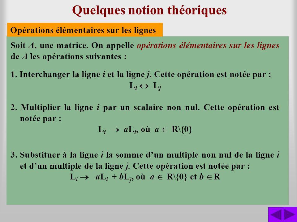 Quelques notion théoriques Soit A, une matrice. On appelle opérations élémentaires sur les lignes de A les opérations suivantes : 1. Interchanger la l