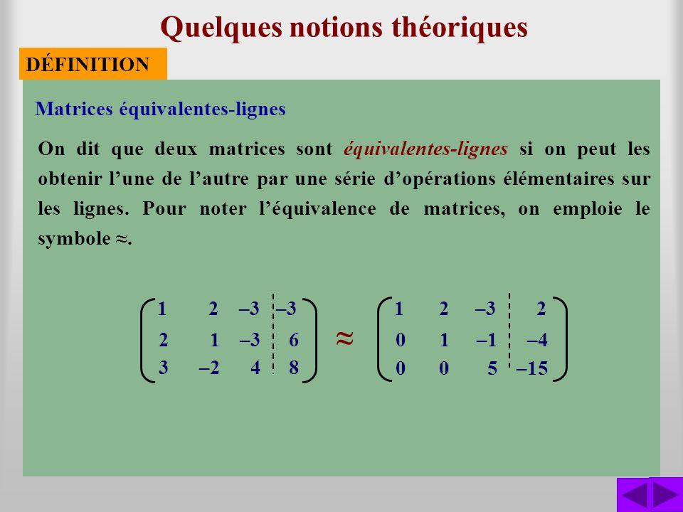 Matrices équivalentes-lignes Quelques notions théoriques On dit que deux matrices sont équivalentes-lignes si on peut les obtenir lune de lautre par u