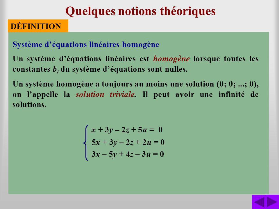 Quelques notions théoriques DÉFINITION x + 3y – 2z + 5u = 0 5x + 3y – 2z + 2u = 0 3x – 5y + 4z – 3u = 0 Système déquations linéaires homogène Un systè