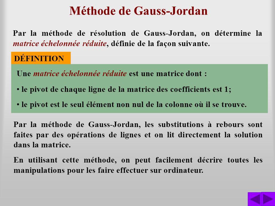 Méthode de Gauss-Jordan Par la méthode de résolution de Gauss-Jordan, on détermine la matrice échelonnée réduite, définie de la façon suivante. DÉFINI